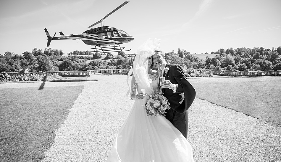 Orchardleigh Wedding Photography Helicopter Landing